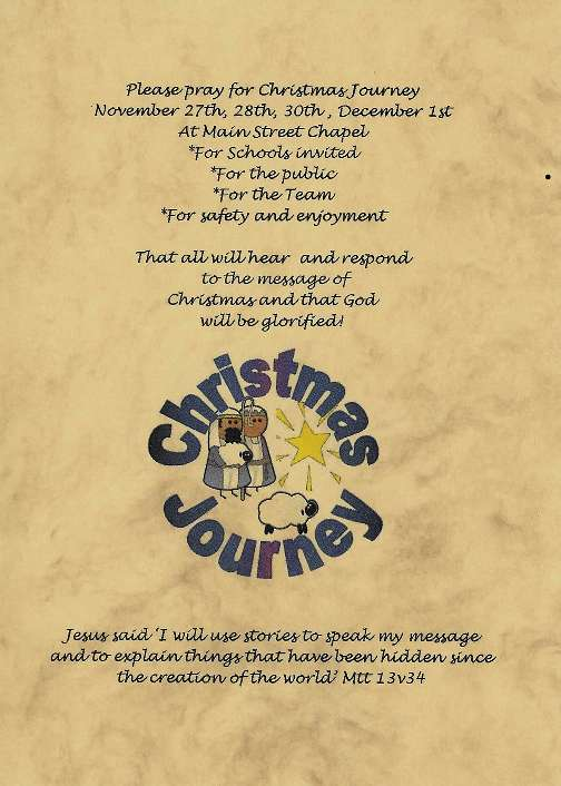 A sample Christmas Journey prayer card