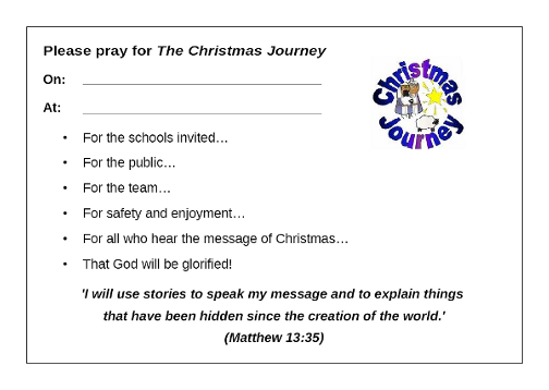 Sample Christmas Journey prayer card